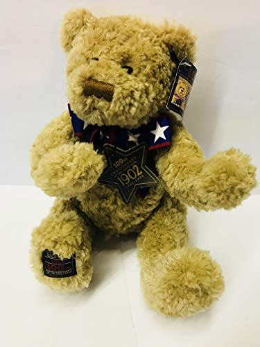 Gund Limited Edition 100th Anniversary 1902 - 2002 Brown Teddy Wish Bear with a Red White & Blue Ribbon Bow w/ Stars - Stuffed Animal Plush 12
