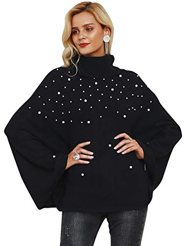 (Simplee Women's Turtleneck Beaded Cape Batwing Sleeve Oversized Cloak Sweater)