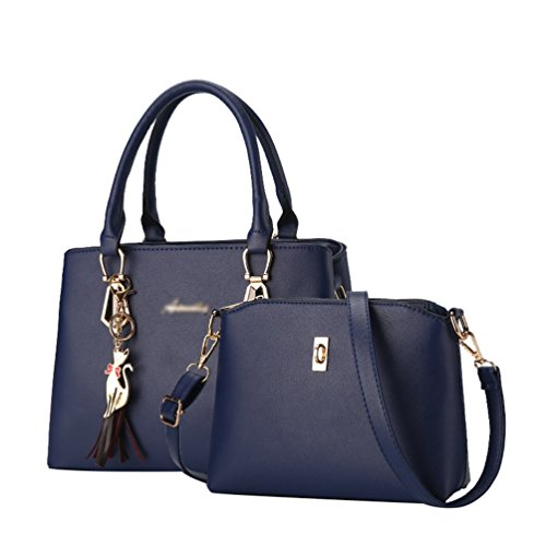 Bag Durable ZhiYuanAN Fashion Handbag Sets Messenger Dark Zipper Blue 2 Comfortable Women Simple Multifunction PCS Shoulder nF1Fq4gw