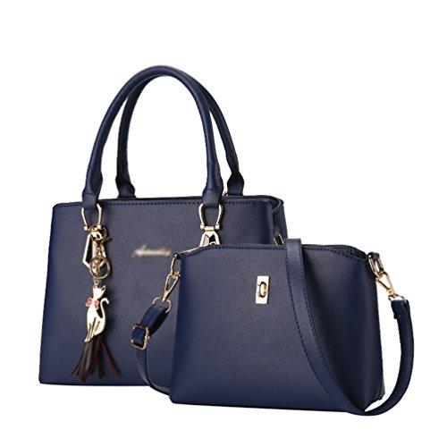 Comfortable ZhiYuanAN Durable Multifunction Shoulder Sets Women Simple Blue Fashion Bag Messenger Dark Handbag 2 Zipper PCS 88gprqzS