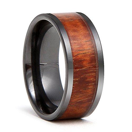 Followmoon 9mm Black Ceramic Flat Wedding Band Ring with Real Koa Wood Inlay by Followmoon