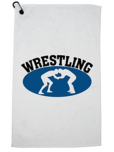 Hollywood Thread Wrestling - Classic Two Wrestler Graphic Golf Towel with Carabiner Clip by Hollywood Thread