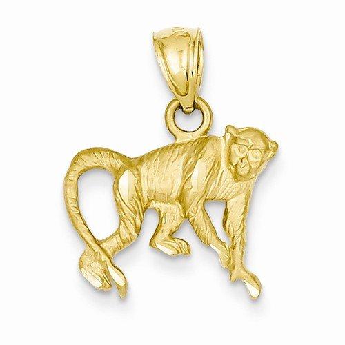 Solid 14k Yellow Gold Diamond Cut Monkey Pendant (22mm x 17mm) 14k Yellow Gold Monkey Pendant