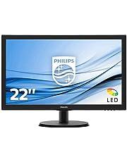 "Philips Monitor 223V5LHSB2 Monitor per PC Desktop 21,5"" LED, Full HD, 1920 x 1080, 5 ms, HDMI, VGA, Attacco VESA, Nero"