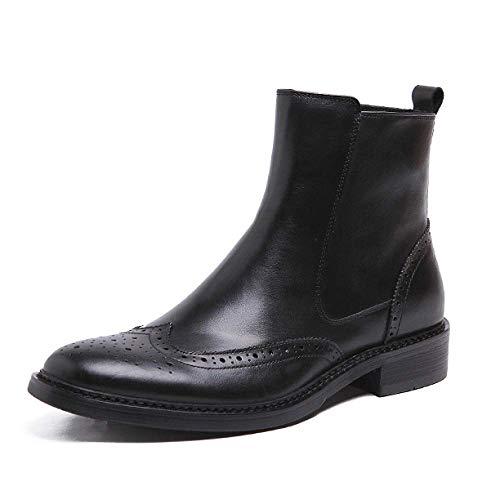 Brogues Brogues Mens Mens Mens Retro Smart On Stivali In Slip PU Casual Rotonda Pelle Punta Nero Black Lucido 7qn1wrP87