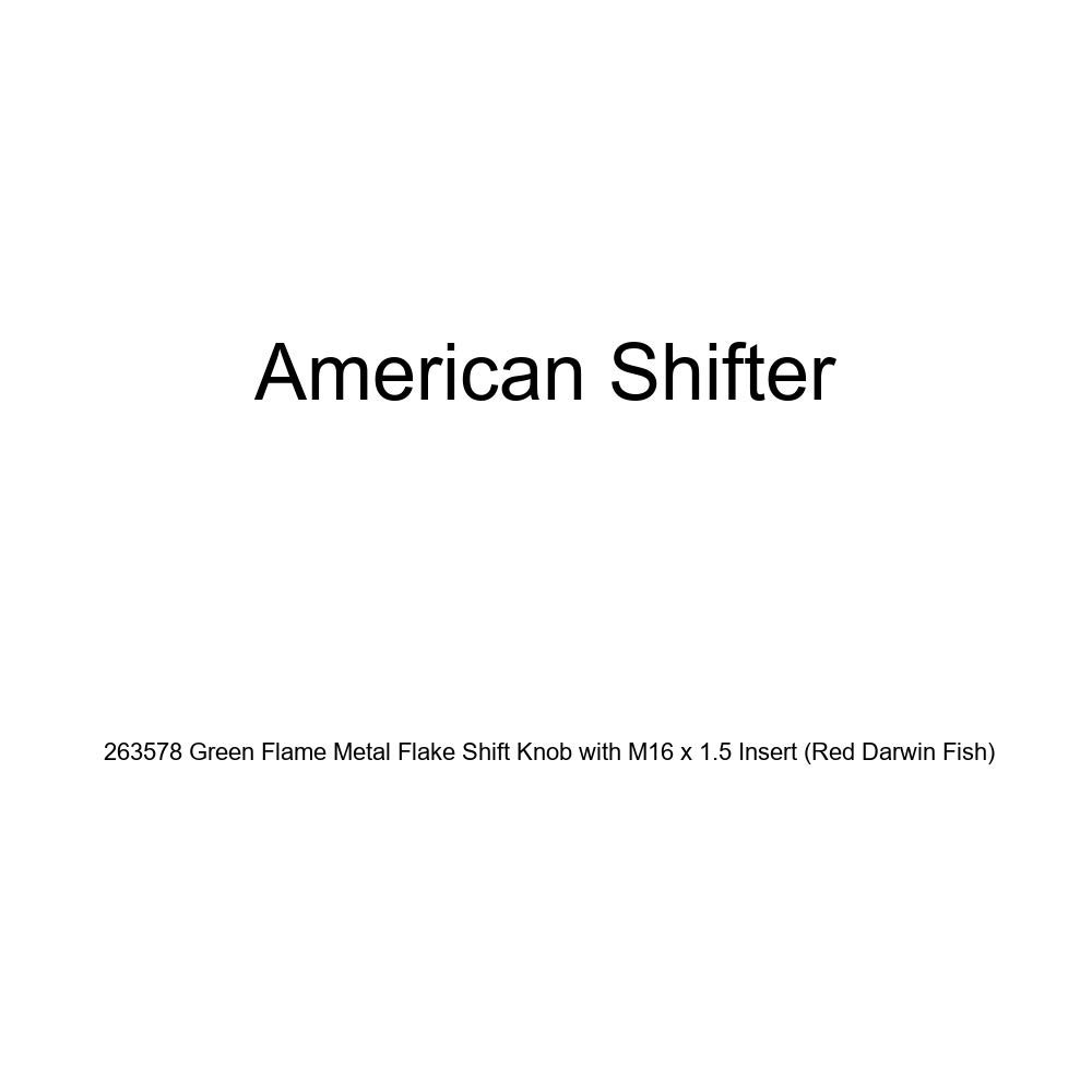 American Shifter 263578 Green Flame Metal Flake Shift Knob with M16 x 1.5 Insert Red Darwin Fish