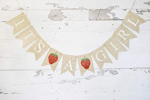 It's A Girl Strawberry Banner for Summer Baby Shower or Gender Reveal Party -