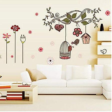 Nido de pájaro rama flor de niña habitación aplicación pared pegatina dormitorio jardín de dibujos animados niños habitación 72 * 100cm