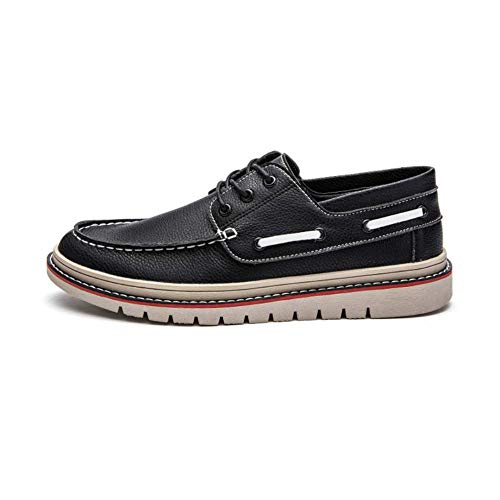 Cuero Zapatos LYZGF Moda De Ocio Black Encaje Jóvenes Negocios Estaciones Hombres wzSqxSPTO