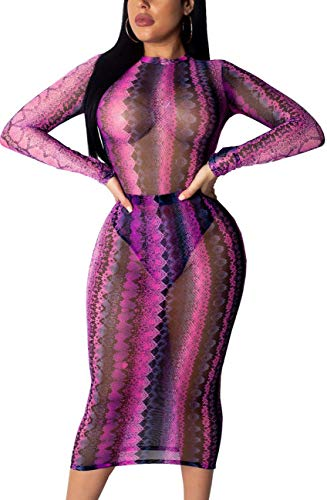 Women's Sexy See Through Summer Novelty Dresses Bodycon Scoopneck Long Sleeve Breathable Mesh Stretchy Outfits for Party Snakeskin Clubwear Skinny Rose ()