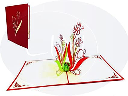 Lin Pop Up Tarjetas de flores, 3d tarjeta de felicitación de ...