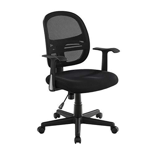 SONGMICS Ergonomic Mesh Office Midback Swivel Chair with Streamline Armrest,Tilt Function,Home Teen Study Computer Chair,Black,UOBN21BK