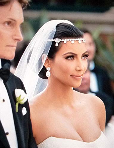 Crystal Women Forehead Headb Head Chain Headpiece Rhinestone Teardrop Tiara Vines Bridal Wedding Hair Jewelry silver
