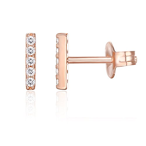 (PAVOI CZ Stud Earrings: 14K Gold Plated Dainty Mini Bar Stud Earrings (Rose))