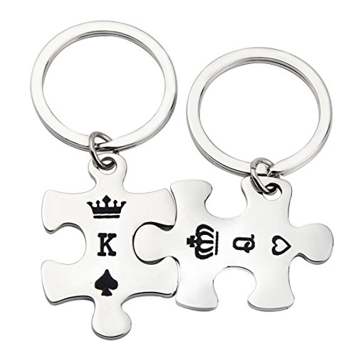 PLITI Valentine's Day His Queen Her King Puzzle Piece Keychain K&Q Letter Couple Gift (K&Q kaychian)