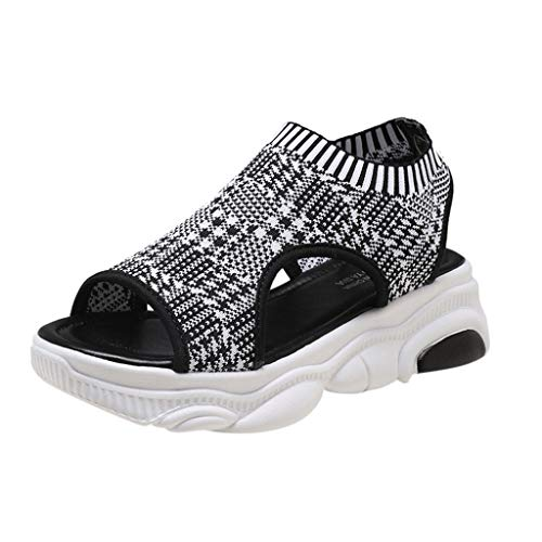 (2019 Women Summer Bear Bottom Female Sandals Knit Socks Fish Mouth Flat Comfort Walking Sports Shoes Breathable Sneakers (White, Size:38= US:6.5))