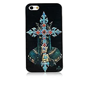 WQQ Christian Cross Pattern Black Frame Back Case for iPhone 4/4S