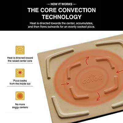 GOVOG Pizza Stone for Oven Grill Retangular Cordierite Home Outdoor BBQ Baking Stone 15x12 Inch