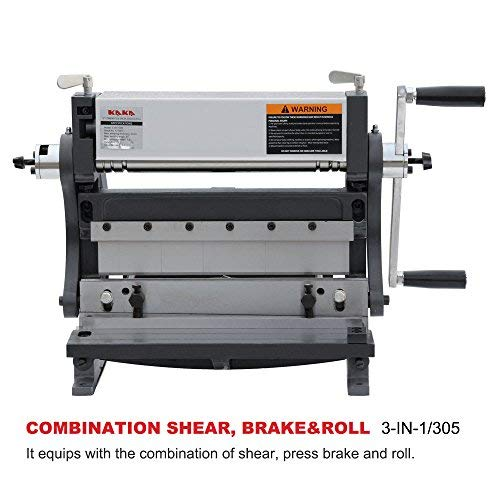 KAKA Industrial 3-In-1/12, Sheet Metal Brake, 12-Inch Shear Brake Roll Combinations, Solid Construction, High Precision Sheet Metal Brakes, Shears and Slip Roll Machine