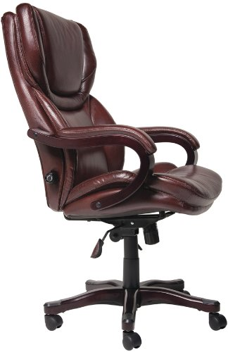large brown leather chair serta bonded leather big amp tall executive chair brown 16352 | 41F3SsxjtNL
