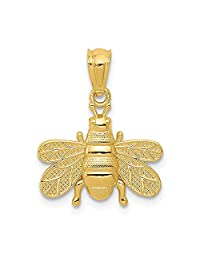 14k Yellow Gold Bee Pendant Charm Necklace Insect Fine Jewelry Gifts For Women For Her