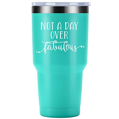Not a Day over Fabulous - Funny Birthday Gifts Ideas for Women, Best Friends, Coworkers, Her, Wife - Mother's Day Gift for Mom, Grandma - Coolife 30oz Stemless Insulated Wine Tumbler with Lid