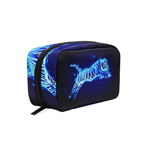 (Flaming Tiger Makeup Bag Organizer Portable Cosmetic Pouch Handbag With Zipper For Women Purse)