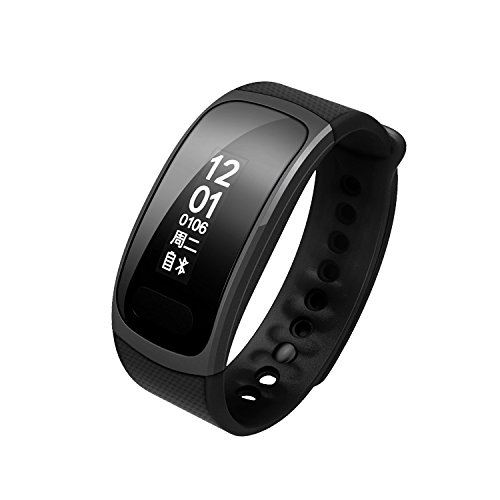 PAPACO Fitness Tracker Bluetooth 4.0 Waterproof- Heart Rate Monitor, Step Pedometer, Sleep Monitor, Blood Oxygen Monitor, Calorie Counter (Black) by PAPACO