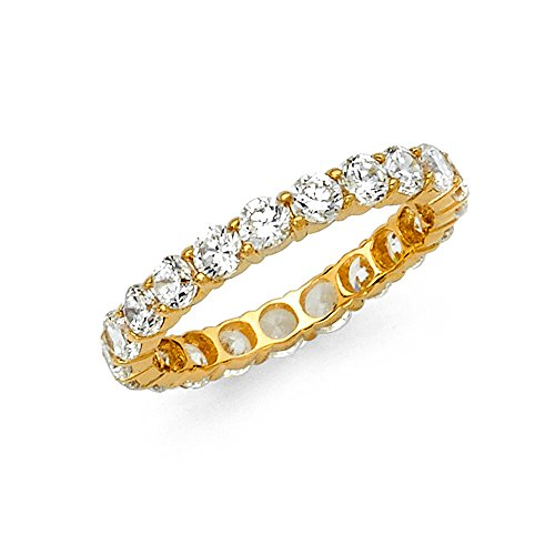 Sonia Jewels 14k Yellow Gold Round Cubic Zirconia CZ Prong Set Eternity Ring Anniversary Wedding Band Size 6