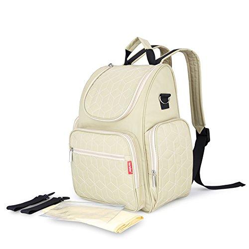 lifenewbaby bolso cambiador grande mochila de viaje momia bolsa de pañales Set con aislamiento bolsillos + Pañales Pad + correas para el carrito verde verde Talla:39*31*15cm blanco