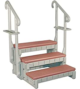 Amazon Com 3 Tread Spa Step In Gray With Redwood Steps