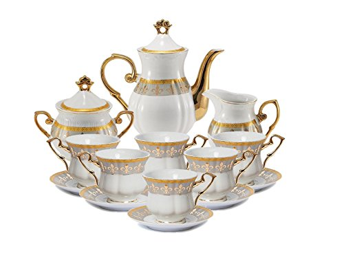 Euro Porcelain (Euro Porcelain 17-Pc. Fleur-de-Lis Tea Cup Coffee Set, Premium Bone China, 24K Gold-Plated, Complete Service for 6, Original Czech Tableware)