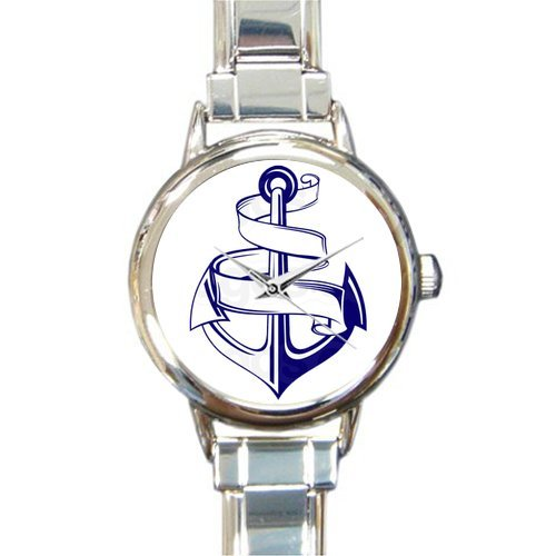 Christmas Day Gift Anchor Clipart Art Round Italian Charm stainless steel Watch
