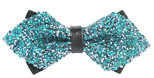 Flairs New York Gentleman's Diamond Pointed Pre-Tied Bow Tie (Teal Glitter Rhinestones/Black) ()