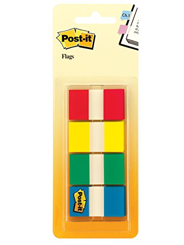Post-it Flags with On-the-Go Dispenser, Assorted Primary Colors, 1-Inch Wide, 80/Dispenser, 2-Dispensers/Pack