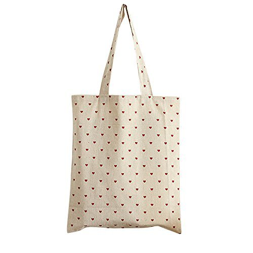 Caixia Women's Red Heart Canvas Tote Shopping Bag Beige (Open) - Heart Tote Bag