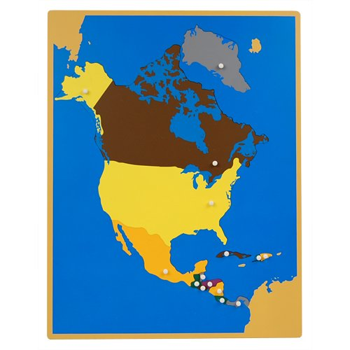 Montessori North America Wooden Puzzle Map with Labeled and Unlabeled Control Maps