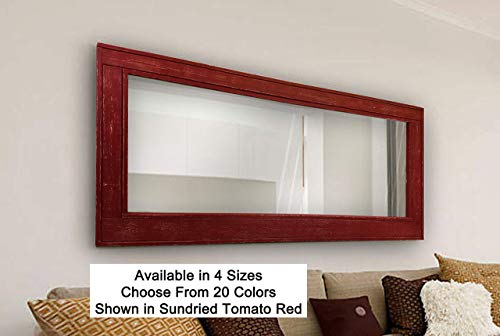 Herringbone Reclaimed Wood Framed Mirror, Available in 4 Sizes and 20 Paint colors: Shown in Sundried Tomato Red - Decor for Living Room - Wall Mounted Mirror - Decor - 24x30, 36x30, 42x30, 60x30