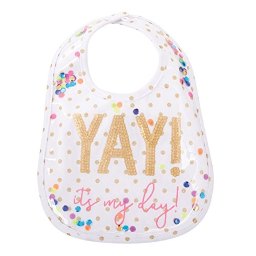 Mud Pie Baby Girls First Birthday Laminated Cake Smashing Bib, White, One Size -
