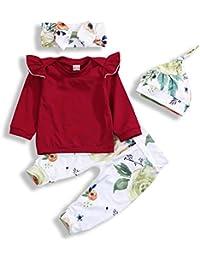 6ca3181e5f6 Infant Girls Pants Set Ruffles Long Sleeve Tops+ Floral Pants + Hat +  Bowknot Headband 4