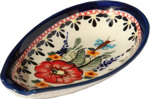 - Polish Pottery Spoon Rest From Zaklady Ceramiczne Boleslawiec 1015-149 Art Unikat Signature Pattern