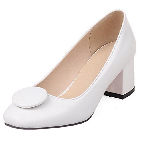 TAOFFEN Women Fashion Thick Mid Heel Slip On Square Toe Court Shoes White
