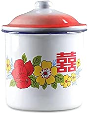Classic Nostalgic Red Double Happiness Enamel Cup Enamel Beer Cup Mug Tea Mug Milk Coffee Cup Instant Noodle Bowl