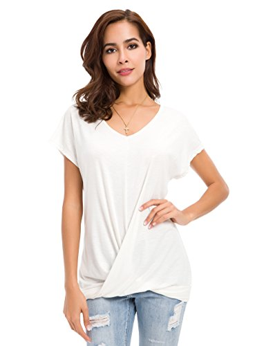 Womens Short Sleeve Twist Knot Loose Fitting Tops V Neck T Shirts White