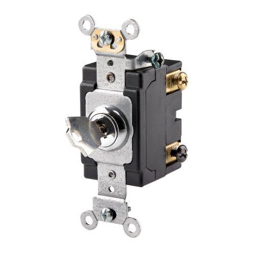 Leviton 1222-2KL 20 Amp, 120/277 Volt, Key Locking, Double-Pole, AC Quiet Switch, Extra Heavy Duty Grade, Chrome