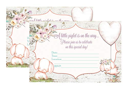 Silly Goose Gifts A Little Piglet is On The Way Pig Themed Baby Shower Invite Decor Supply Supplies ()