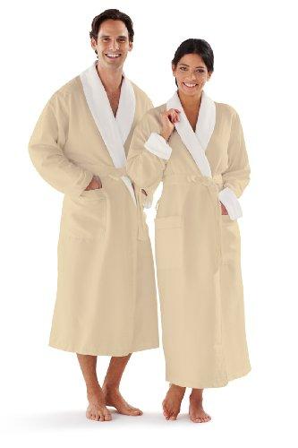 Luxury Terry Robes - Boca Terry Women's and Men's Robe, Luxury Microfiber Ecru Bathrobe, One Size Fits All