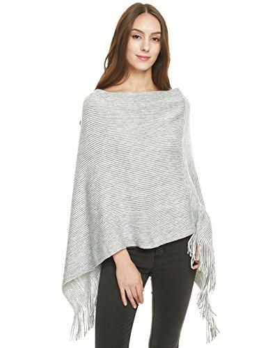 Ferand Women's Soft Knit Poncho Sweater, Elegant Fringe Cape Shawl in Multi-Way Neck Style, Light Grey