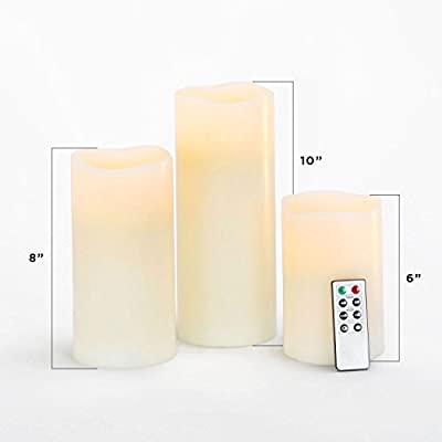 Variety Set of 3 Large Melted Edge Flameless Smooth Ivory Tall Wax Pillars with Remote