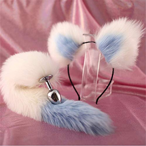 Make life wonderful White & Blue Three Sizes Fluffy Faux Fox Tail & Cat Ears Headband Charms Role Play Costume Party Masquerade Cosplay Prop (White & Blue, M) -